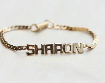 Sharon Name Bracelet, Name Bracelet, Sharon Bracelet, Name Plate Bracelet, Sharon