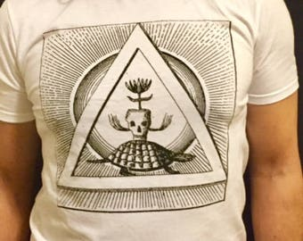 Trimurti t-shirt, white t-shirt, Hindu t-shirt, silkscreen t-shirt, soft t-shirt, graphic t-shirt, skull t-shirt, turtle, triangle, sun,
