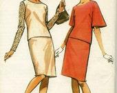 Vintage 60 McCalls 8196 Misses UNCUT Mod Bell Sleeve 2-PC Dress Sewing Pattern Size 16-18 Bust 36-38