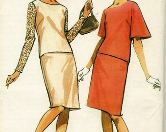 Vintage 60 McCalls 8196 Misses UNCUT Mod Bell Sleeve 2-PC Dress Sewing Pattern Size 16-18 Bust 36-38