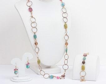 Pink Olive Teal Necklace Set Bracelet Earrings Rosebuds Gold Tone Signed Cookie Lee Vintage