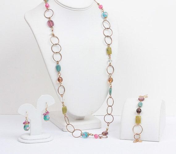 Pink Olive Teal Necklace Set Bracelet Earrings Rosebuds Gold Tone Circles Signed Cookie Lee Vintage