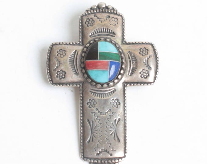 Carolyn Pollack Relios Sterling Cross Pendant Enhancer Brooch Inlaid Stone Vintage