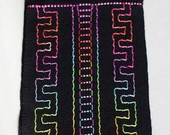 "Handwoven Hand dyed Inlay Silk Scarf - Fiesta Ladders, 57""x6"""