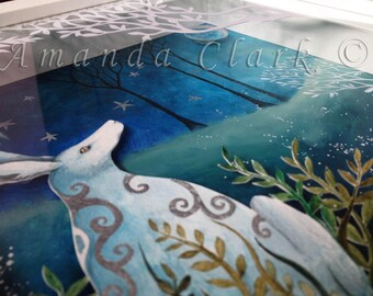 An original painting and paper cut, titled 'Under The Silver Moon'. NOW IN A SALE