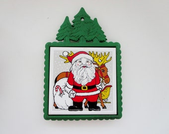 Vintage Christmas Trivet  - Santa Claus Cast Iron Trivet With Christmas Tree Border - Made in Japan