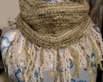Soft Lime Green Fringy Cowl