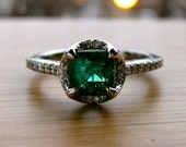 Emerald Engagement Ring in Platinum with Diamonds Size 6.5 - RESERVED for Shawn