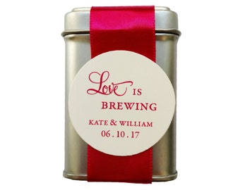 Love is Brewing Tea Tin DIY Wedding Favor wedding shower party