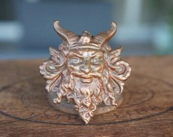 Highly Detailed Antique French Viking Green Man Horned Man Viking Brass Stamping