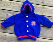 Handknit Chicago Cubs Hooded Baby Sweater Made to Order 0-24 months