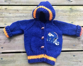 Hand Knit Denver Broncos Hooded Sweater Made to Order 0-24 months