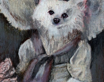 original art  aceo drawing anthropomorphic victorian spitz dog in hat