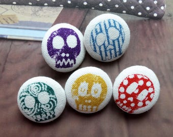 Colourful Punk Style Floral Stripe Polka Dots Blue Green Purple Red Yellow Skulls-Handmade Fabric Covered Buttons(0.75 Inches, 5PCS)