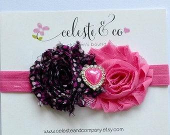 Valentine Headband Baby Headband Infant Headband Hot Pink and Pink Heart Headband Valentine's Day Newborn Headband