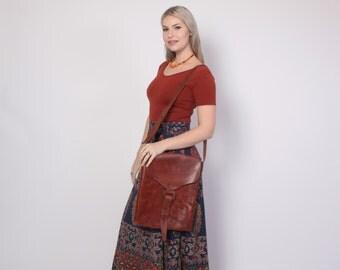 Vintage 70s Leather PURSE / 1970s Large Brown Custom Made Boho Shoulder BAG