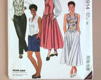 Misses' Vest, Full Skirt, Shorts and Slacks - McCalls 4914 - Size 14 Vintage Sewing Pattern