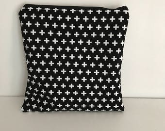 Zippered Wet Bag with Waterproof Lining - Black and White Crosses