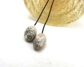 Crusty Rustic Orb Lampwork Headpins Earthy SandstoneDesert Pink  with Silver Granulation - set of 2