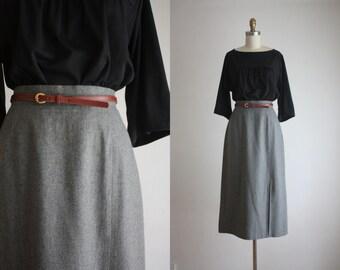 charcoal wool skirt