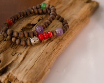 Bracelet double bois budha zen