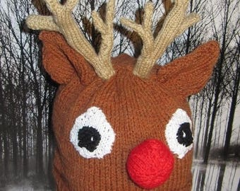 50% OFF SALE madmonkeyknits Rudoplh Reindeer Christmas Beanie Hat knitting pattern pdf - Instant Digital File pdf download knitting pattern