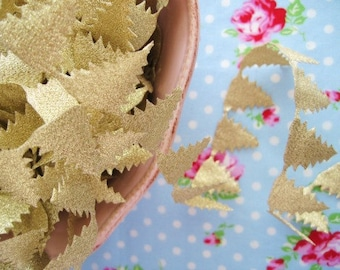 Glittery Gold Christmas Tree Cut Out Ribbon/Trim - 1 inch - 2 Yards