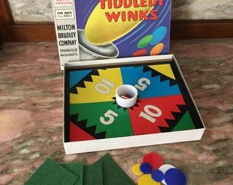 Jumbo Tiddledy Winks Game 1960s Milton Bradley With Glass Cup