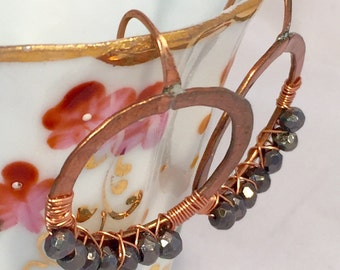 Hammered Copper and Wirewrapped Faceted Pyrite Circle Handcrafted Earrings