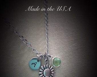 Personalized Swarovski Crystal birthstone flower necklace