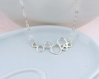 Silver Geometric Circles Necklace - Bubbles