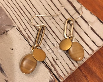 CLEARANCE Silver and brass, neutral drop earrings