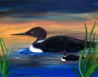 Loon lake wildbird place mats from my art