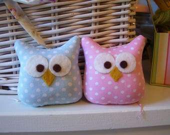 Two Darling Little Owl Ornaments....Soooo Cute... Pink and Blue