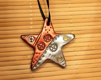 Industrial Style Christmas Star Ornament - Steampunk Holiday Tree Decoration Polymer Clay