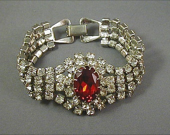 Crystal and Red Rhinestone Multi Strand Bracelet