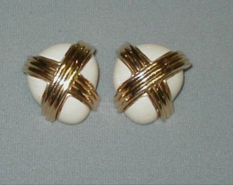 Vintage Ciner Large White and Gold Clip Earrings