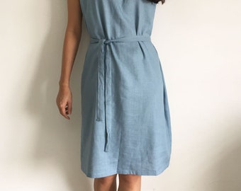 Linen Tunic Dress/Loose fit Dress/ Deserie/In Gray Blue/Gift for her/Linen Bridesmaids Dress Loose fit