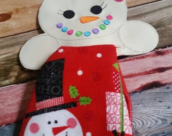 Vinyl Towel Topper - towel top - home decor - snow girl - holiday decoration - whimsical - kitchen towel - holiday decor - winter - house