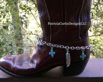 Boot bracelet  with crosses and feathers and turquoise crystals   Boot bling  rodeo