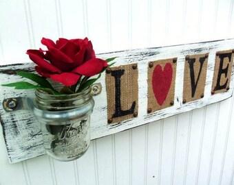 LOVE sign, flower jar holder, keys, coins home decor wedding gift