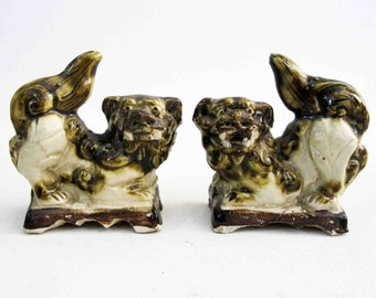 Vintage Porcelain Glazed Japanese Foo Dog or Foo Lion Pair. Circa 1950's.