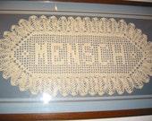 custom crocheted name doily
