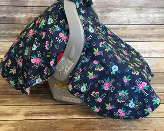 Weighted Corners   MINKY Inside   Car Seat Cover   Minky Cover   Carseat Cover   Floral on Navy