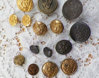 Destash Lot 15 Vintage / Antique US Military, Cadet, Uniform Metal Buttons, Eagle, Shield, Symbol