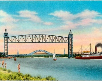 Vintage Cape Cod Postcard - Railroad and Bourne Bridges over the Cape Cod Canal (Unused)