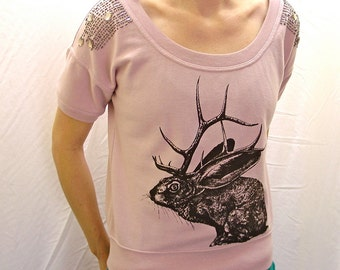 Jelk Jackalope top - screenprinted, upcycled, one of a kind - womens size small dusty pale pink dazzly tshirt
