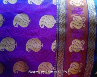 Purple Gold Silk Saree Fabric By Yard, Art Silk Fabric, Indian Silk Fabric, Indian Fabrics, Sari Fabric, Border Print Art Silk Fabric