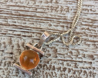 Amber Silver Necklace Vintage Silver Amber Pendant Amber Octagon Pendant