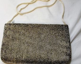 Vintage Carla Marchi Silver Beaded Zipper Evening Shoulder Bag